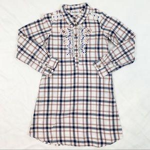 Rare Editions plaid lace embellished shirt dress